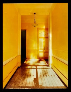 Yellow Corridor Night, Milan - Architectural Color Photography