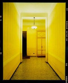Yellow Corridor (Night), Milan - Italian architectural color photography