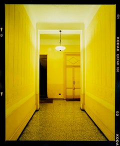Yellow Corridor (Night), Milan - Italian architectural color photography