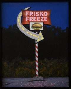 "Blue and red small scale oil painting ""Frisko Freeze"" (Photorealist landscape)"
