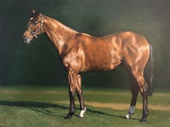 """Photorealist equestrian painting, """"Bay"""" Inspired by George Stubbs"""