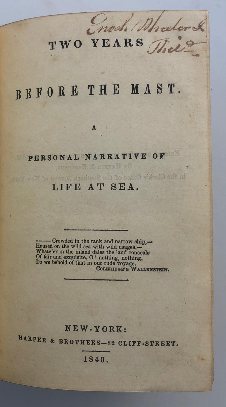 Richard Henry Dana, Two Years Behind the Mast, First Edition, 1840 For Sale 3
