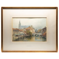 Richard Henry Wright Watercolor Gouache of Chartres, France, 1906