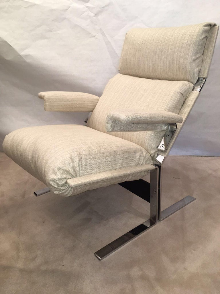 Polished Richard Hersberger for the PACE Collection Modern Lounge Chair with Ottoman For Sale