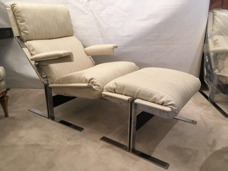 Richard Hersberger for the PACE Collection Modern Lounge Chair with Ottoman In Good Condition For Sale In East Hampton, NY