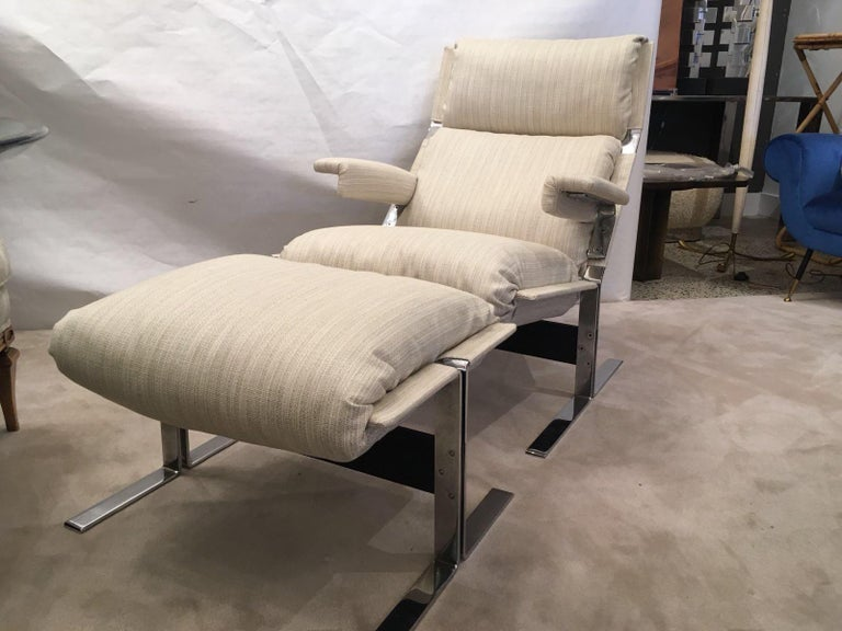 Mid-20th Century Richard Hersberger for the PACE Collection Modern Lounge Chair with Ottoman For Sale