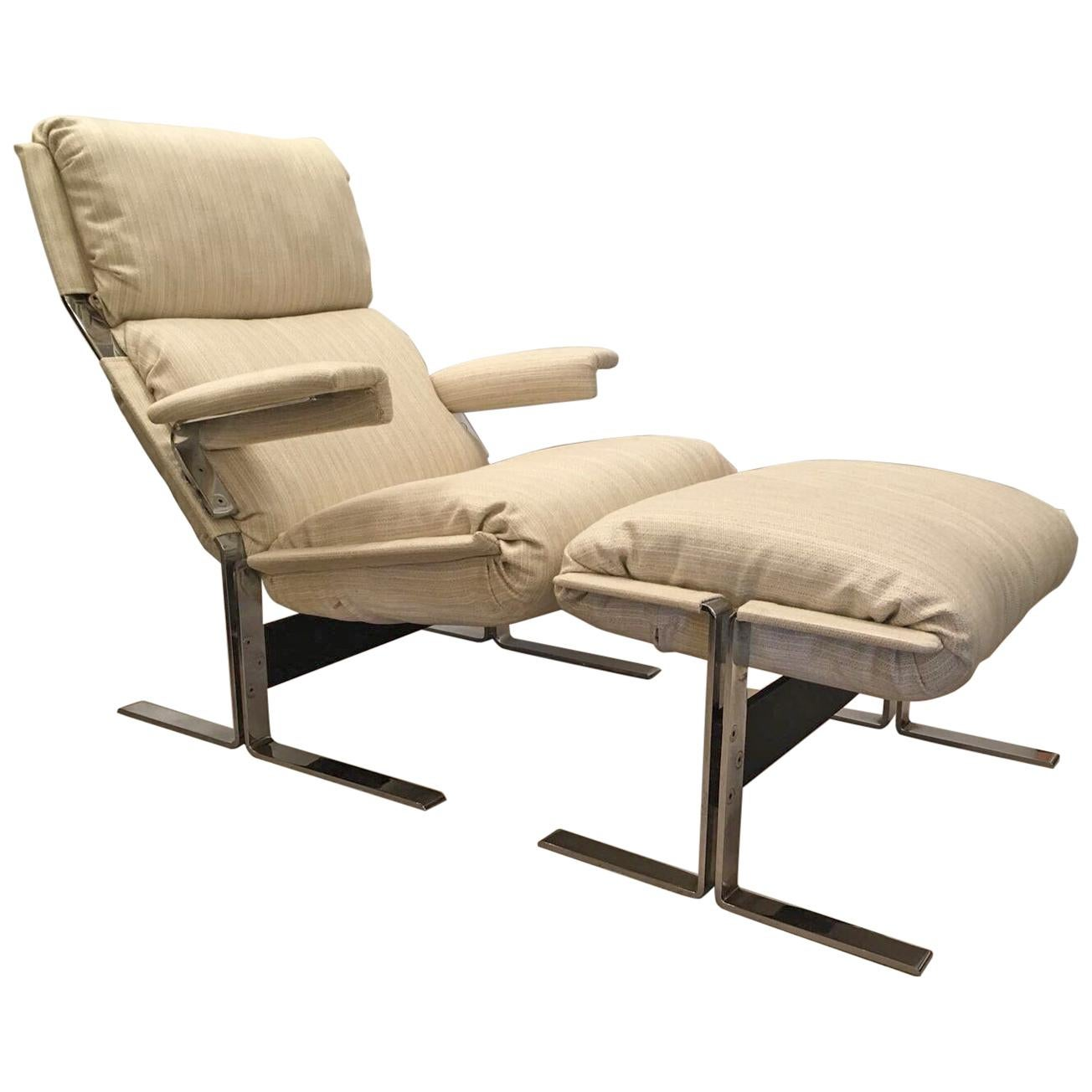 Richard Hersberger for the PACE Collection Modern Lounge Chair with Ottoman