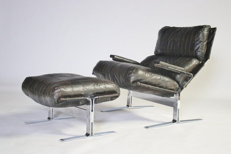 Mid-Century Modern Richard Hersberger For Saporiti Lounge Chair and Ottoman For Sale
