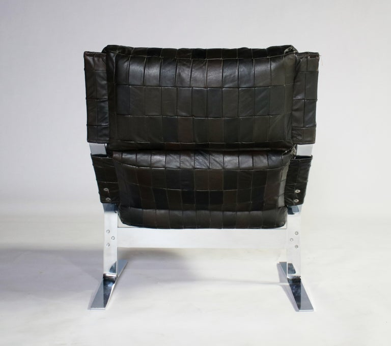 Steel Richard Hersberger For Saporiti Lounge Chair and Ottoman For Sale