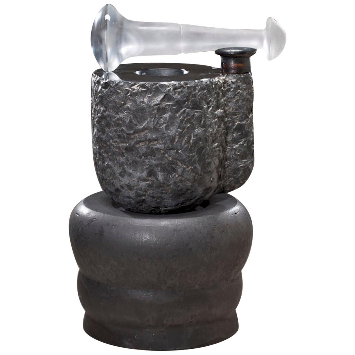 Richard Hirsch Black Marble Mortar and Glass Pestle Sculpture, circa 2006 - 2010