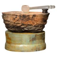 Richard Hirsch Ceramic Altar Bowl with Blown Glass Ladle #5, 2007