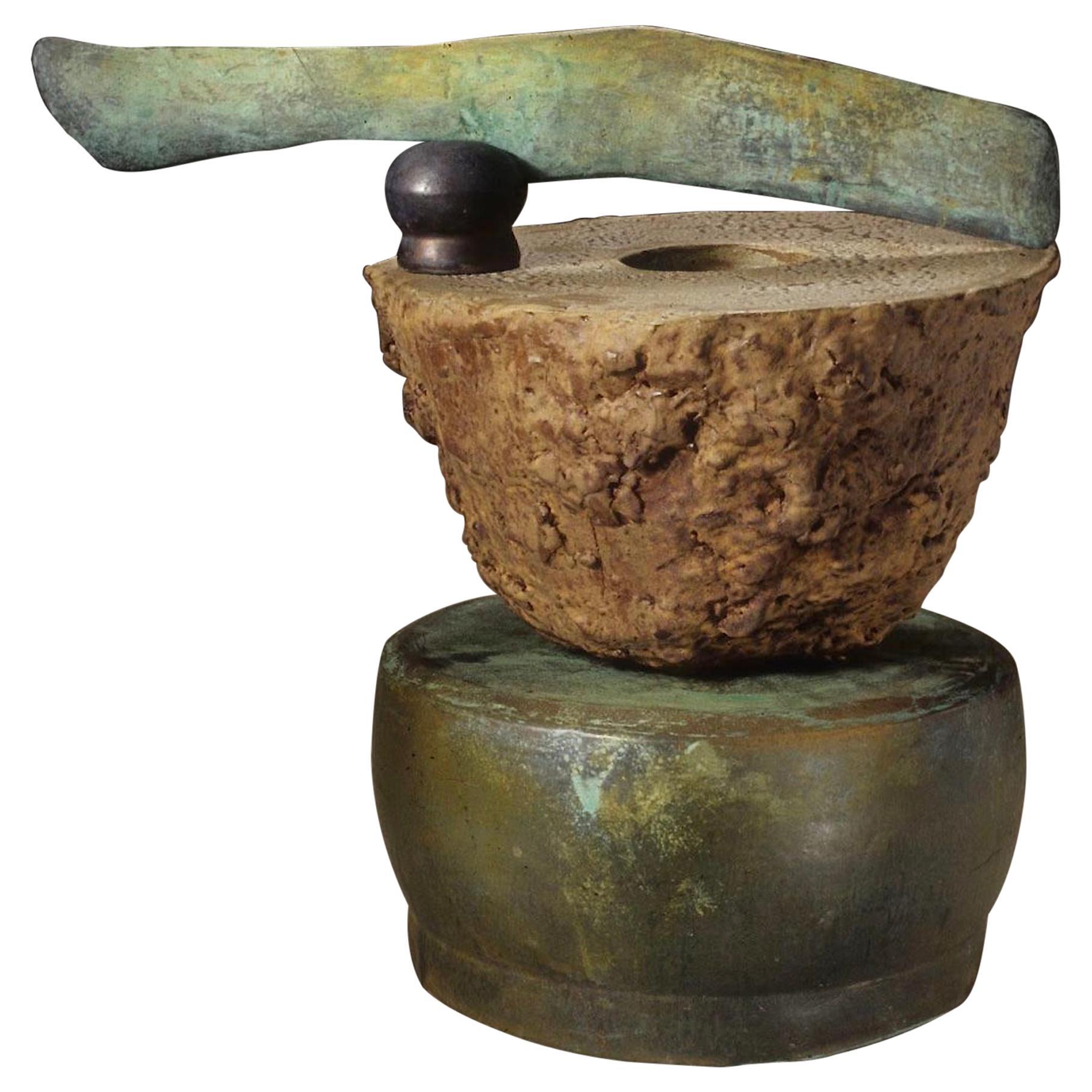 Richard Hirsch Ceramic Altar Bowl with Weapon Sculpture, 2000