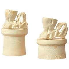Richard Hirsch Ceramic Creamy White Primal Cups with Stands, 2018