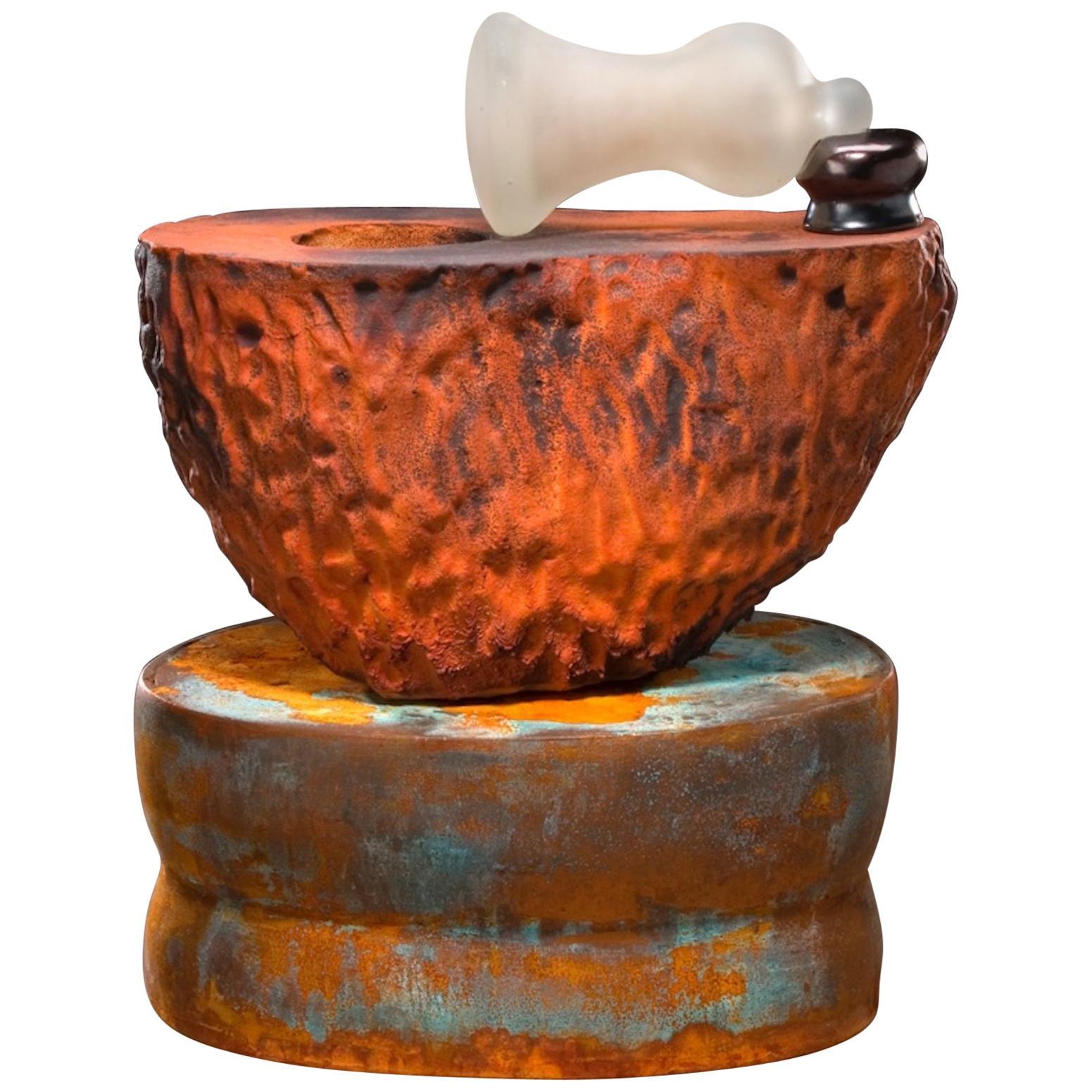 Richard Hirsch Ceramic Mortar and Blown Glass Pestle Sculpture #23, 2006