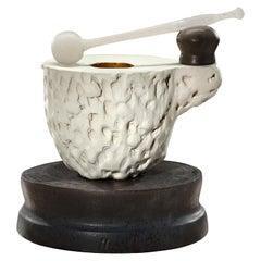 Richard Hirsch Ceramic Mortar and Glass Pestle Sculpture #1, 2020
