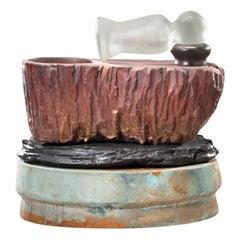 Richard Hirsch Ceramic Mortar and Hot Blown Glass Pestle Sculpture, 2009