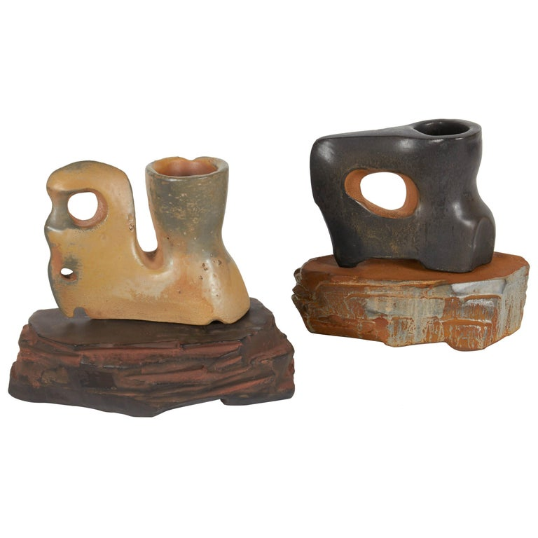 Richard Hirsch Ceramic Primal Cups with Stands, 2014 For Sale