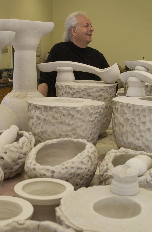 Contemporary Richard Hirsch Ceramic Scholar Rock Cup Sculpture #19, 2016 For Sale
