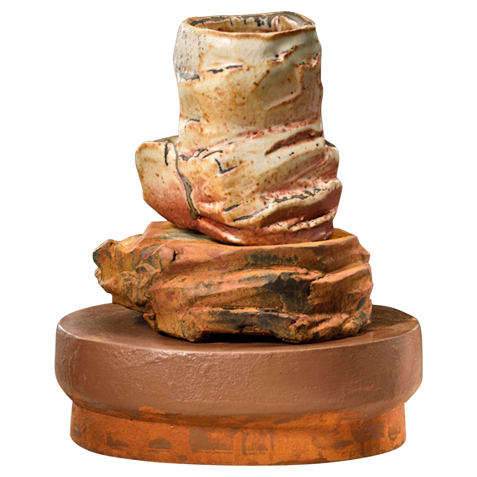 Richard Hirsch Ceramic Scholar Rock Cup Sculpture #19, 2016