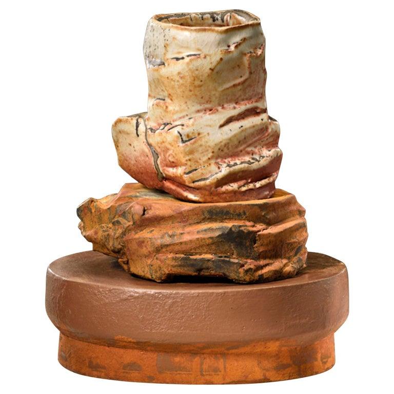 Richard Hirsch Ceramic Scholar Rock Cup Sculpture #19, 2016 For Sale