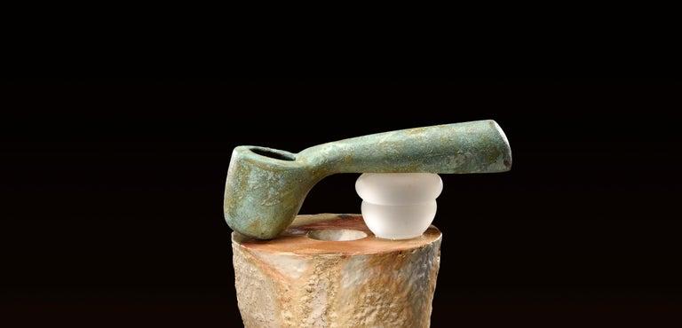 Modern Richard Hirsch Glazed Ceramic Crucible Sculpture #32 with Blown Glass, 2016 For Sale