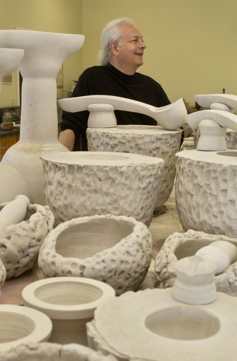 Richard Hirsch Glazed Ceramic Crucible Sculpture #32 with Blown Glass, 2016 For Sale 1