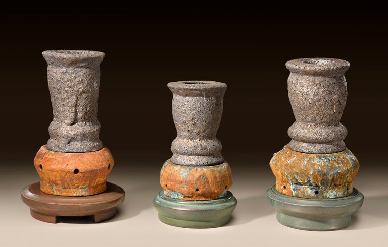 Contemporary American ceramic artist Richard Hirsch's Crucible Sculpture Group #1 was assembled in 2016. It's wheel thrown and hand built clay, wood and soda fired with Baskin crusty rusty glaze, raku patinas and multi low fired glazes. In the book