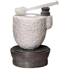 Richard Hirsch White Marble Mortar and Glass Pestle Sculpture, circa 2006-2010
