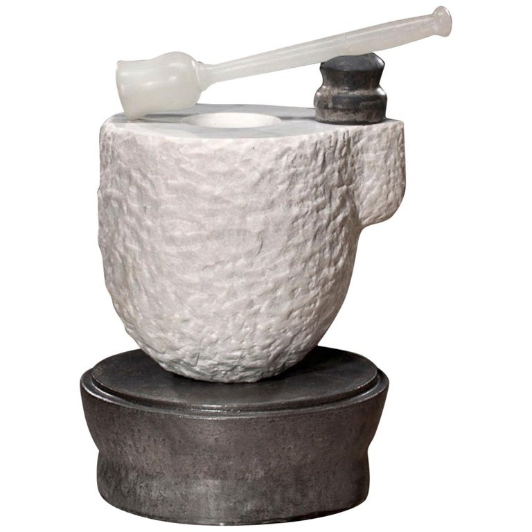 Richard Hirsch White Marble Mortar and Glass Pestle Sculpture, circa 2006-2010 For Sale