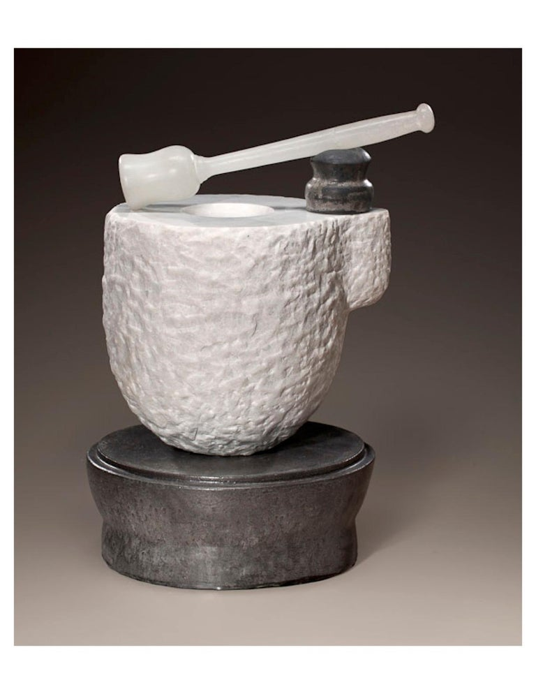"""Contemporary American ceramic artist Richard Hirsch's white marble mortar and glass pestle was made during 2006-2010. Its wheel thrown and hand built clay, black glaze, sculpted white marble and hot blown glass. """"In his process, Hirsch is a reducer,"""