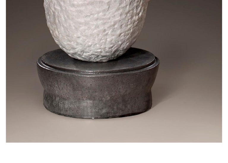 American Richard Hirsch White Marble Mortar and Glass Pestle Sculpture, circa 2006-2010 For Sale