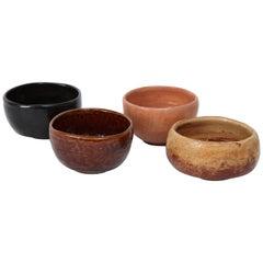 Richard Hirsch's Set of 4 Raku Tea Bowls, circa 1996-1997