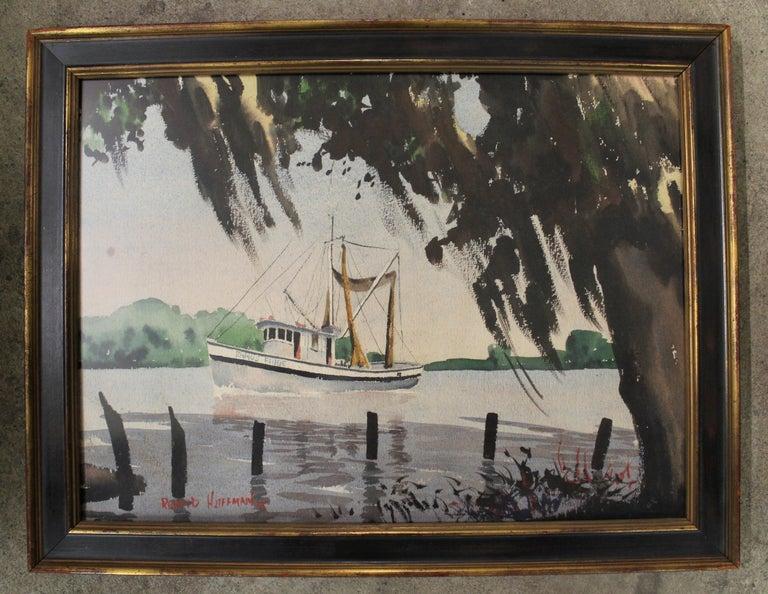 Richard Peter Hoffman (American 1911-1997)  Medium: Watercolor Shrimp boat in the Louisiana Bayou.  Biography:  Richard Peter Hoffman was a precisionist painter, photographer, and designer. Born in Allentown, Pennsylvania in 1911, Hoffman was