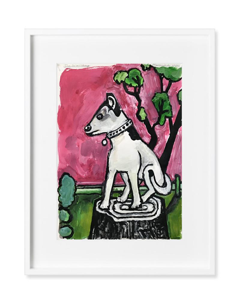 American Contemporary Painting Dog Pink Tree Landscape Richard Huntington Mexico