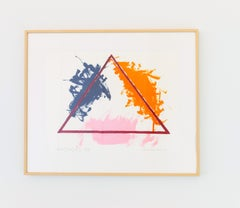 American Modern Abstract Geometric Painting Triangle 1979 Framed Colorful