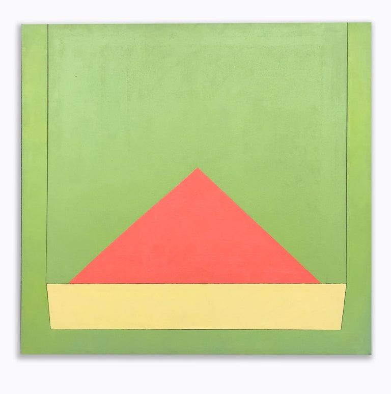 Richard Huntington 1970s Geometric Abstraction Large Mid Century Modern Triangle - Painting by Richard Huntington