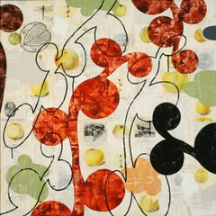 """Pyrus Malus II, acrylic, charcoal & found-paper collage on wood panel, 36"""" x 36"""""""
