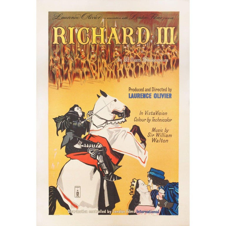 Original 1955 British one sheet poster for the film Richard III directed by Laurence Olivier with Cedric Hardwicke / Nicholas Hannen / Laurence Olivier / Ralph Richardson. Fine condition, linen-backed. This poster has been professionally