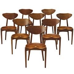 Richard Jensen and Kjaerulff Rasmussen Set of Eight Dining Chairs in Mahogany