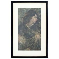 Richard Jerzy Signed Oil Painting on Paper Girl Framed