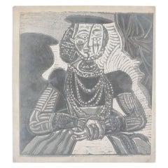 Richard J.Misch Photography of Picasso Linocut 'Bust de Femme', 1972