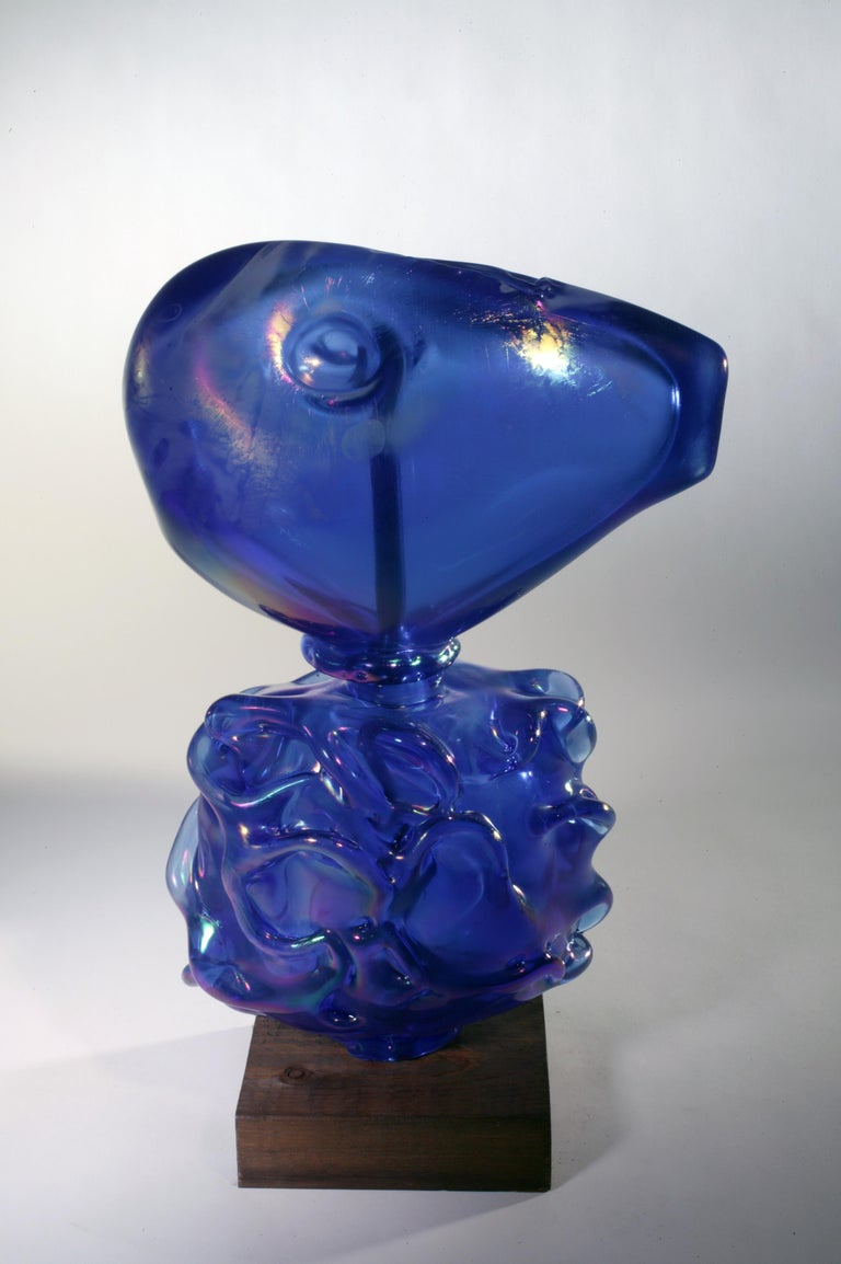 Richard Jolley Still-Life Sculpture - FROM WATER IRIDESCENT COBALT - blue blown glass sculpture