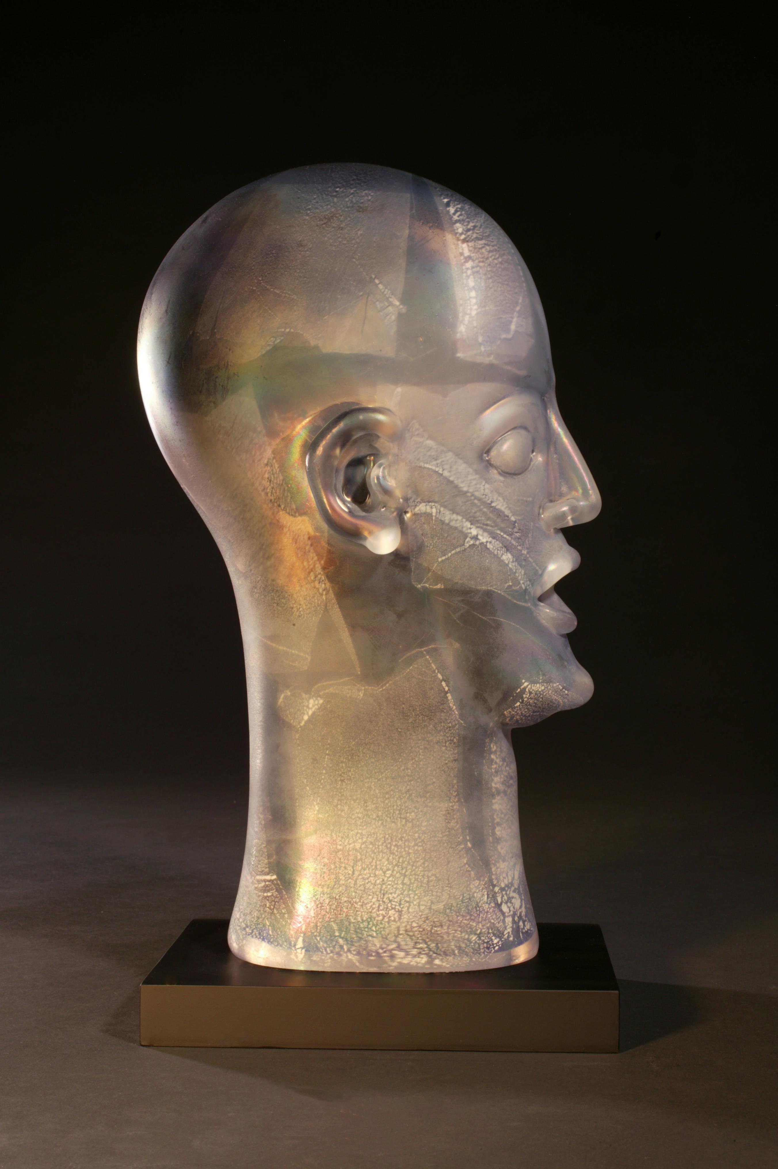 SILVER GREY IRIDESCENT BUST - figurative blown glass sculpture