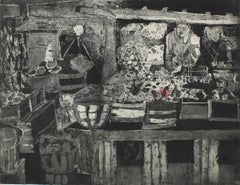 Monochromatic Abstracted Marketplace Scene Etching 1950-60s