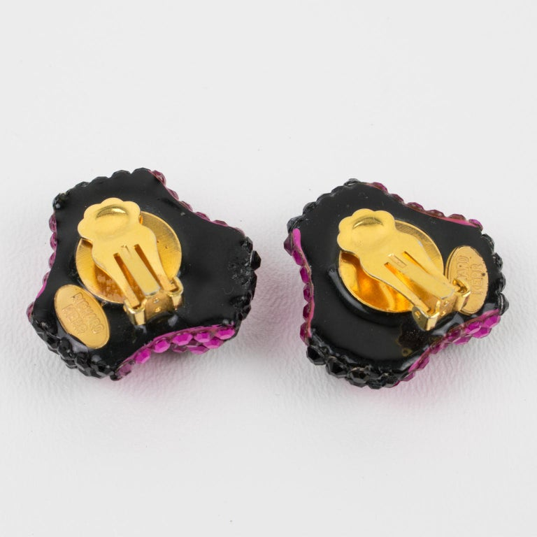 Women's or Men's Richard Kerr Clip Earrings Black and Fuchsia Jeweled Paved For Sale