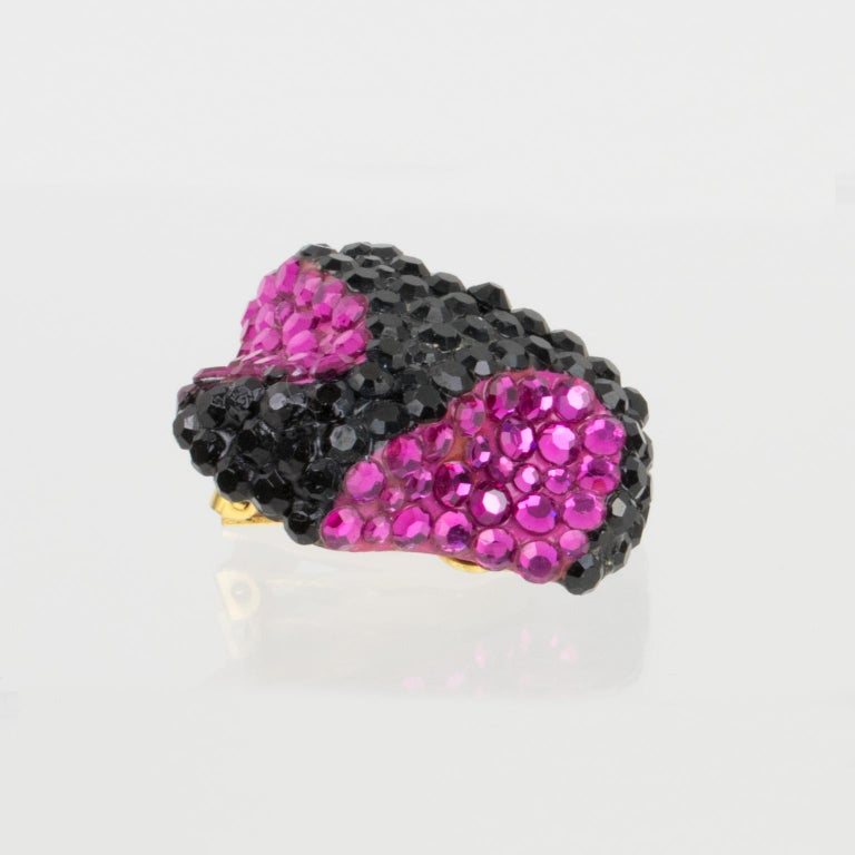 Richard Kerr Clip Earrings Black and Fuchsia Jeweled Paved For Sale 2