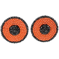 Richard Kerr Clip on Earrings Black and Orange Rhinestones Paved