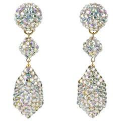 Richard Kerr Dangle AB Crystal Clip Earrings