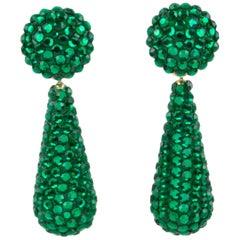 Richard Kerr Dangle Green Crystal Clip Earrings