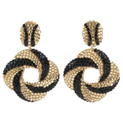 Richard Kerr Black and Champagne Crystal Clip Earrings